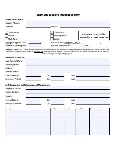 tenant and landlord information form