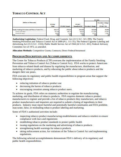 tobacco retail budget template