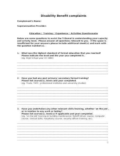 training activities questionnaire in pdf