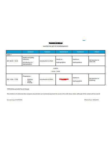 training itinerary schedule template