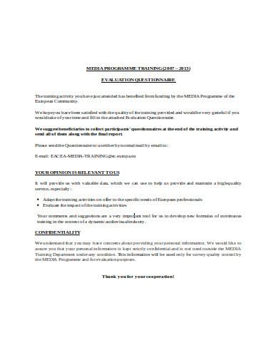 training program evaluation questionnaire