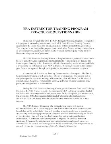 training program pre course questionnaire