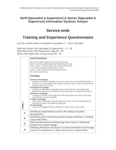 training and experience questionnaire in pdf