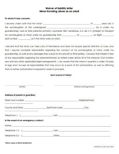 travelling liability letter