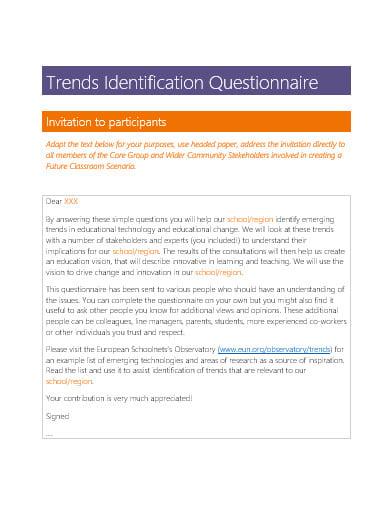 trends identification questionnaire