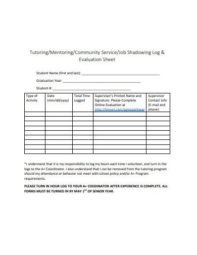 tutoring log evaluation sheet template