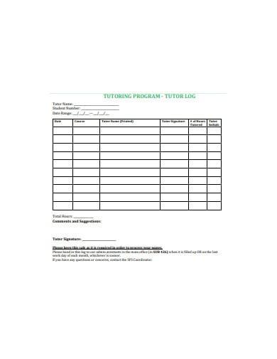 tutoring program log sheet template