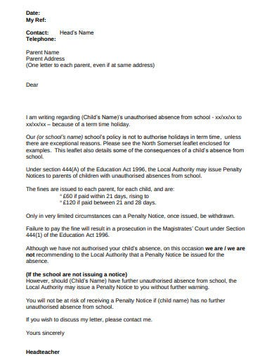 unauthorised absence letter from school