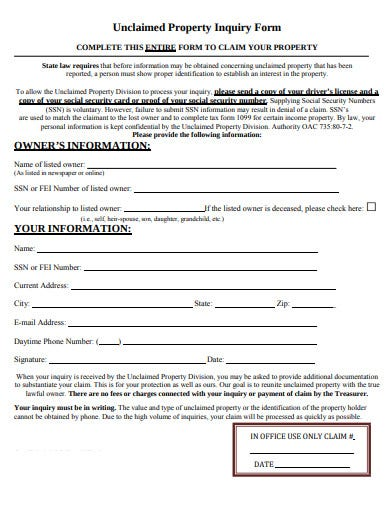 unclaimed property inquiry form template
