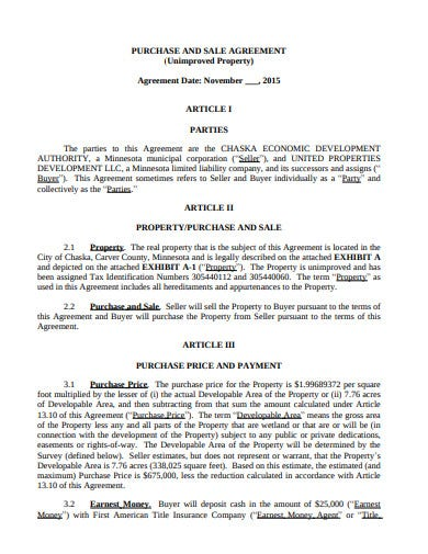 unimproved property sale agreement