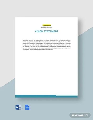 university vision statement template