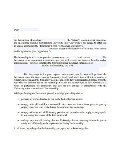 Unpaid-Internship-Agreement-Letter-Template Sample Application Letter For Unpaid Internship on