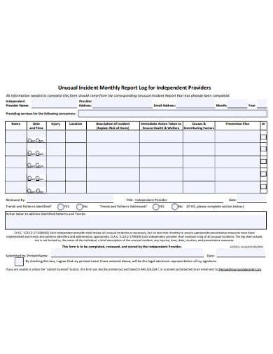 unusual incident monthly report log