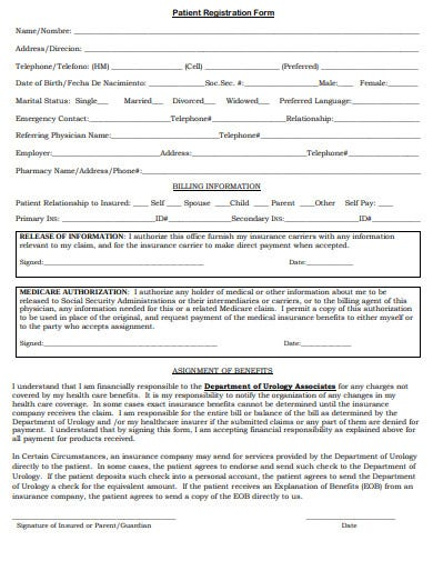 urology adult patient registration form