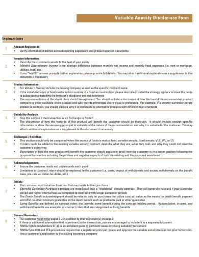 variable annuity disclosure form template