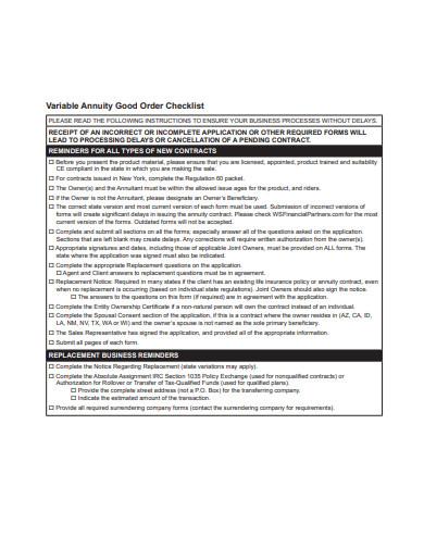 variable annuity good order checklist