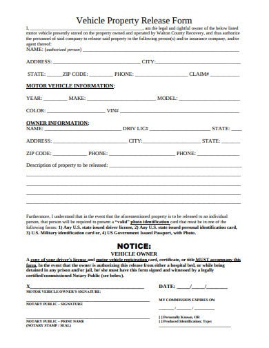 vehicle property release form template