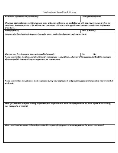 volunteer feedback form in doc
