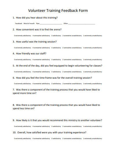 volunteer training feedback form