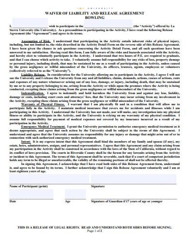 wavier liabilty release agreement template
