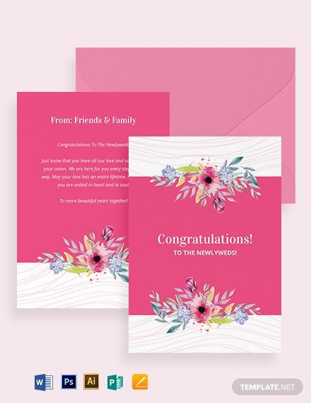 wedding congratulations greeting card template 1