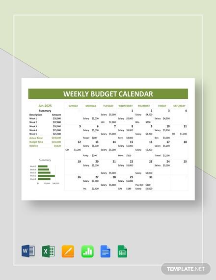 weekly budget calendar