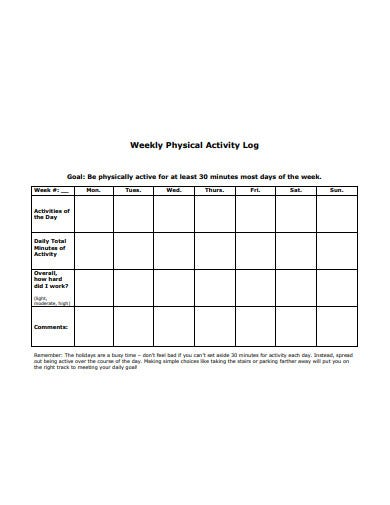 weekly physical activity log template1