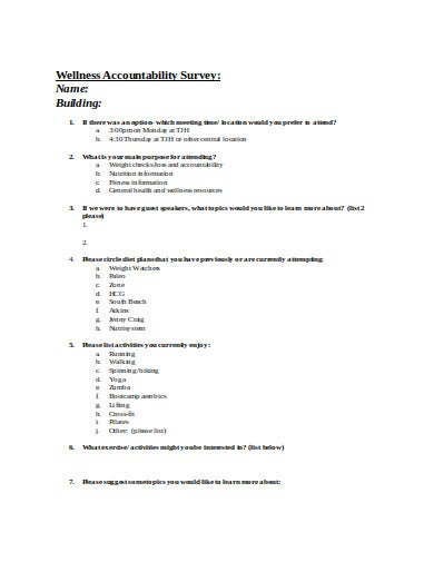 wellness accountability survey