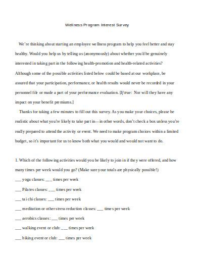 wellness survey template