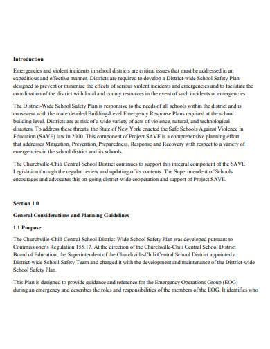 wide school safety plan template