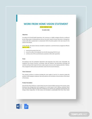 work from home vision statement template