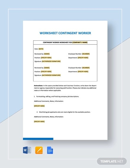 Contingent Worker Worksheet Templates - PDF | Free & Premium ...