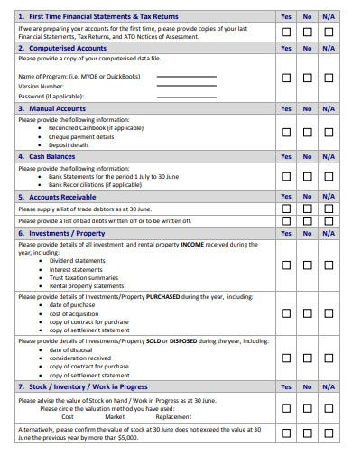 year end accounting questionnaire