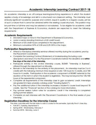 yearly internship learning contract template