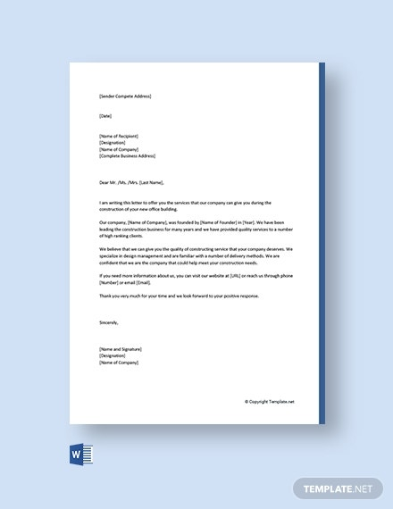 business proposal letter for services