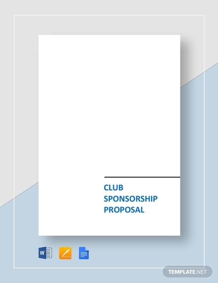 club sponsorship proposal