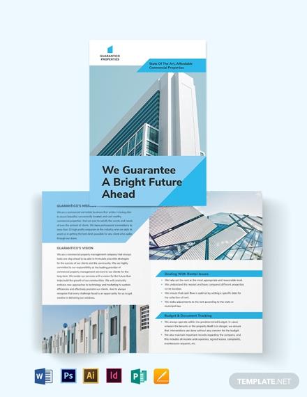 commercial property management bi fold brochure