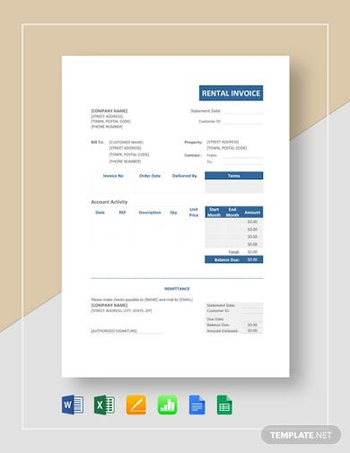 property rental invoice template