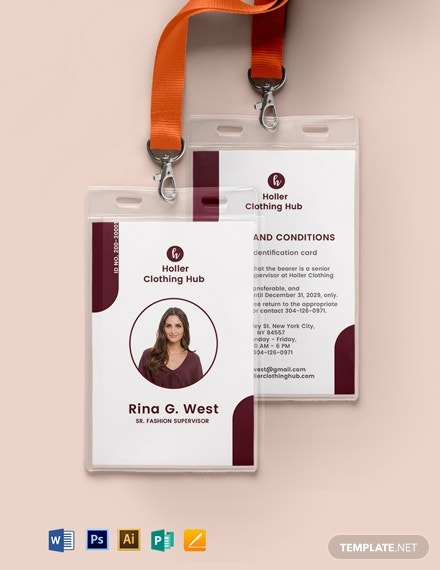 1printable office id card