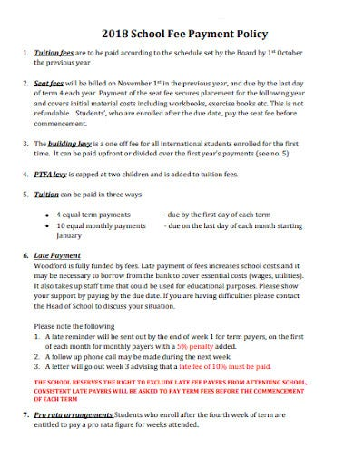 2018 school fee payment policy template