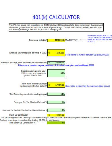 6 401k calculator templates in xls free premium templates. Black Bedroom Furniture Sets. Home Design Ideas