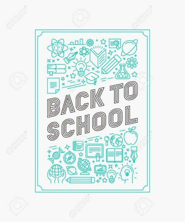 42445702 vector back to school poster design in trendy linear style mono line icons and letters