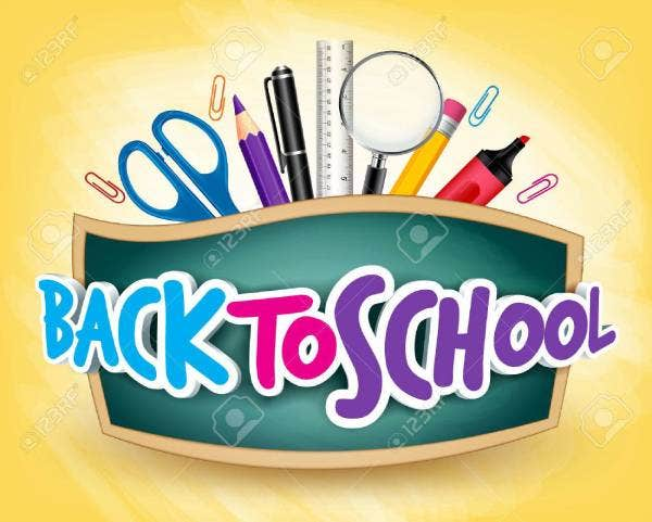 43876662 3d realistic back to school title poster design in a blackboard with school items in a background ed