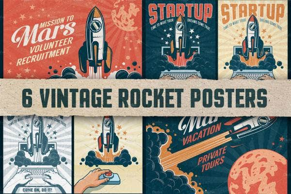 6 vintage rocket posters 1