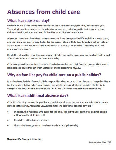 absences from child care fact sheet