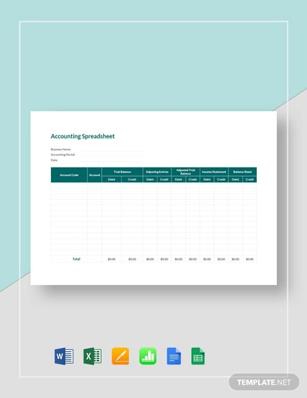 accounting spreadsheet template