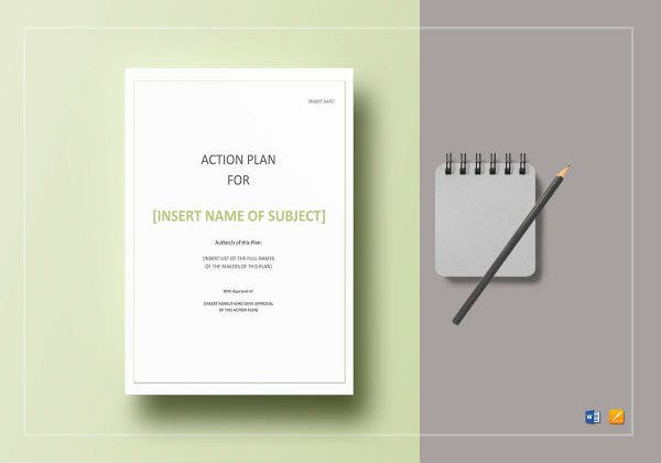 action plan template mockups