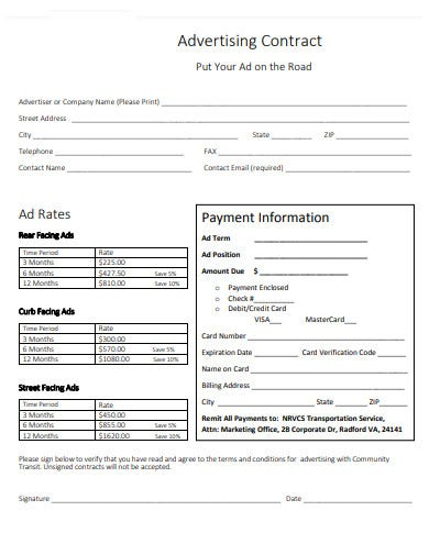 advertising agency company contract