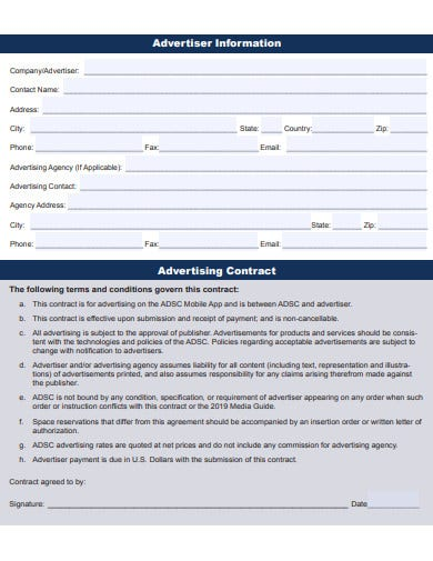advertising agency contract information