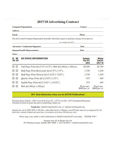 advertising agency organisation contract